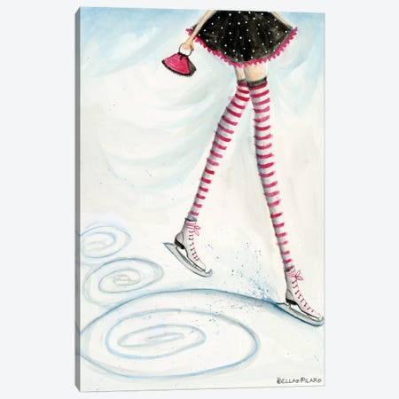 Skating In Candycane Socks Canvas Print #BPR263} by Bella Pilar Canvas Art