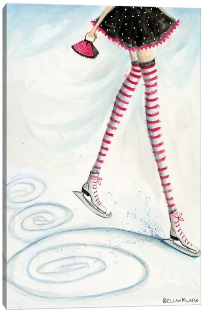Skating In Candycane Socks Canvas Art Print
