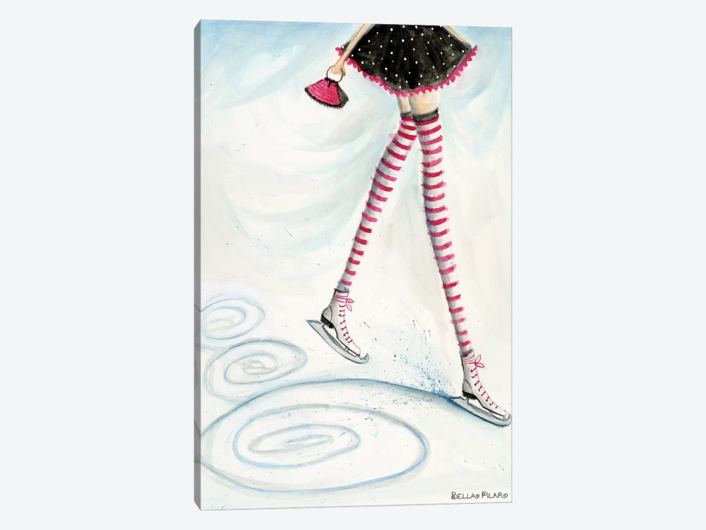 Holiday Series: Skating In Candycane Socks by Bella Pilar 1-piece Canvas Print