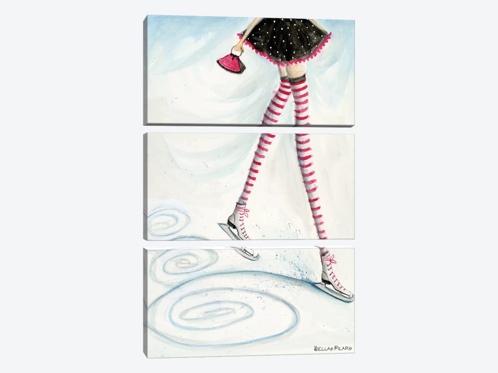 Holiday Series: Skating In Candycane Socks by Bella Pilar 3-piece Canvas Print