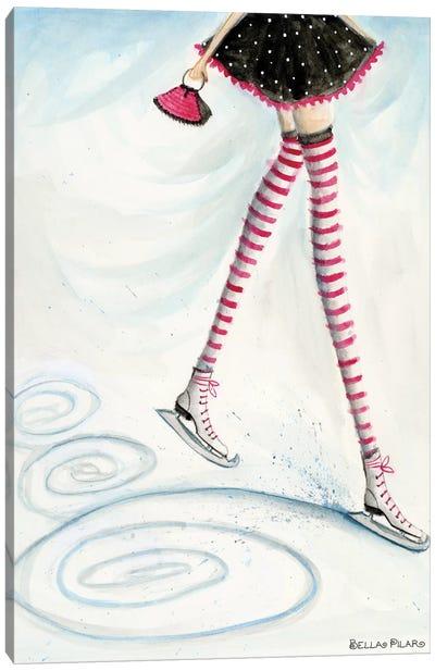 Skating In Candycane Socks Canvas Art Print