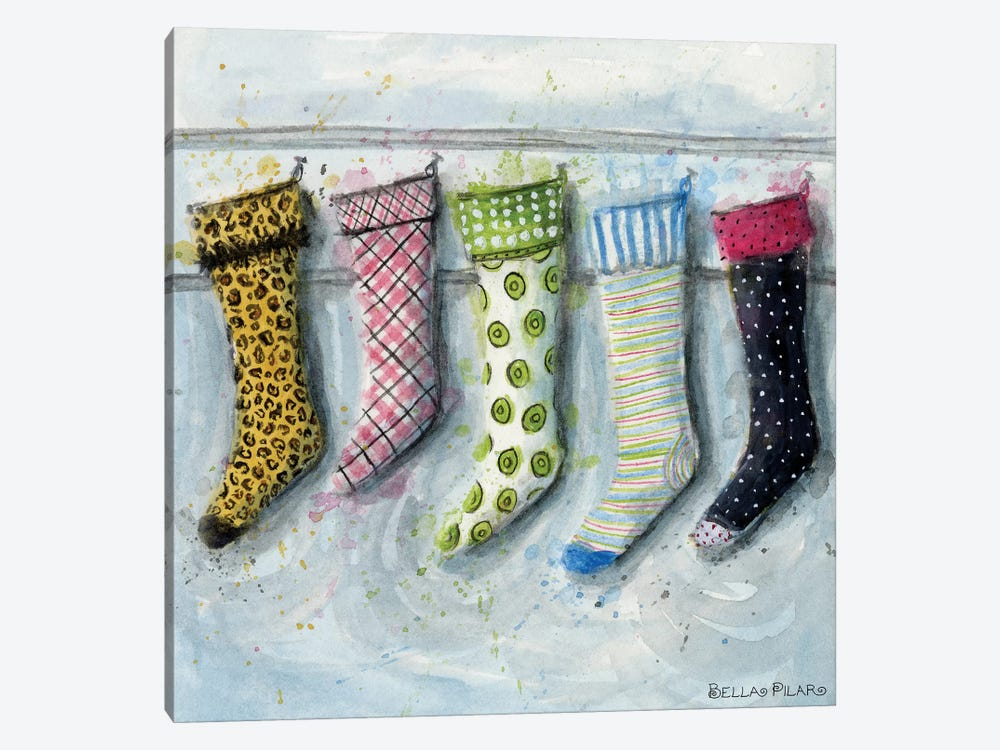 Holiday Series: Stockings by Bella Pilar 1-piece Canvas Art Print