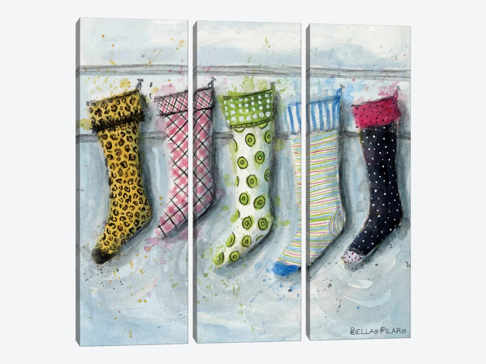 Holiday Series: Stockings by Bella Pilar 3-piece Canvas Print