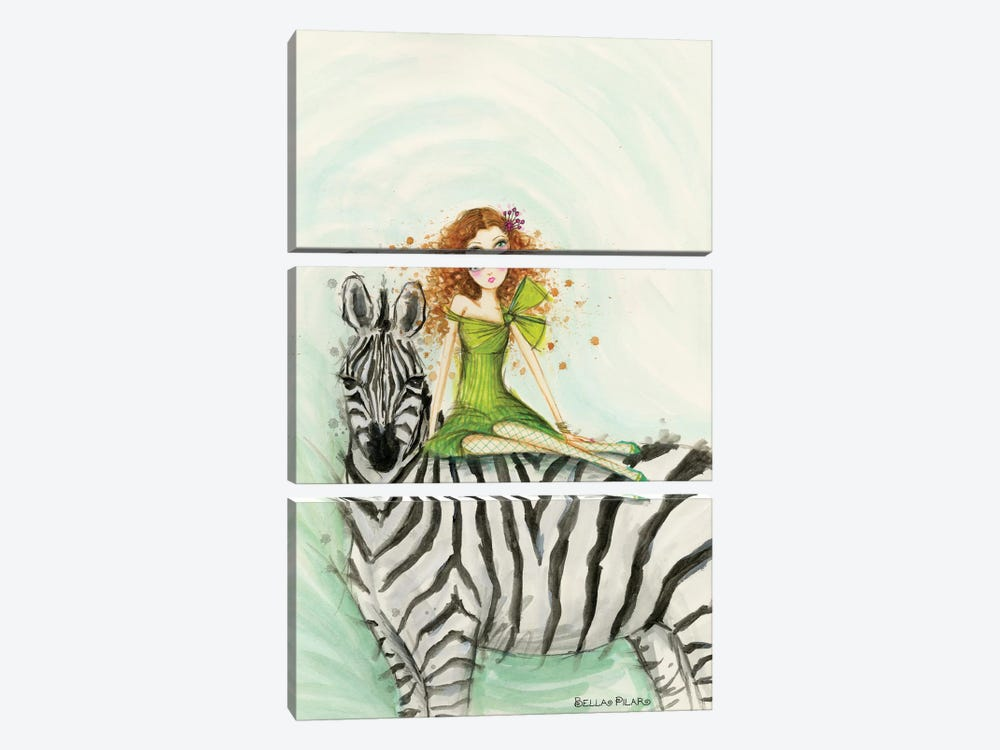 Jungle Lounge Series: Zebra Zia by Bella Pilar 3-piece Art Print