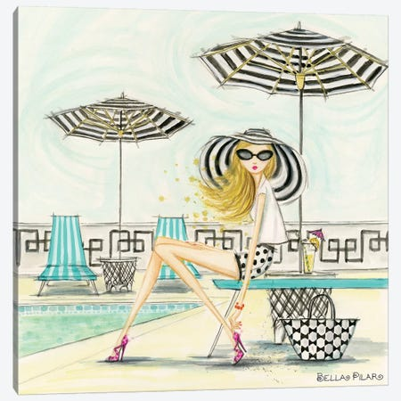 Poolside Canvas Print #BPR279} by Bella Pilar Canvas Print
