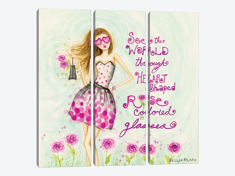 Heart Shaped, Rose Colored Glasses by Bella Pilar 3-piece Canvas Print