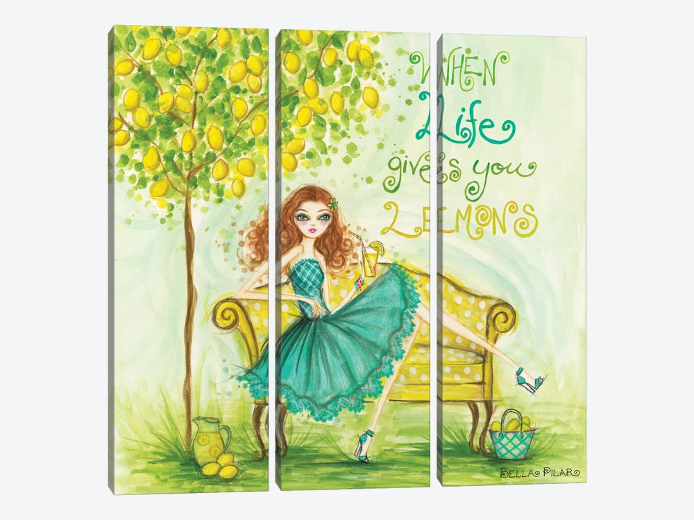 When Life Gives You Lemons by Bella Pilar 3-piece Canvas Artwork
