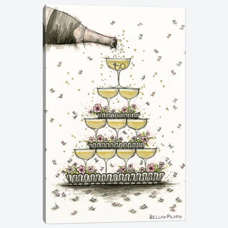 Champagne Glass Pyramid Canvas Print #BPR298} by Bella Pilar Canvas Art Print