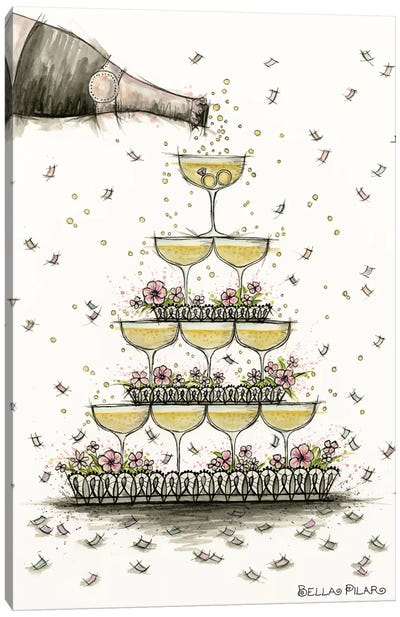 Champagne Glass Pyramid Canvas Art Print