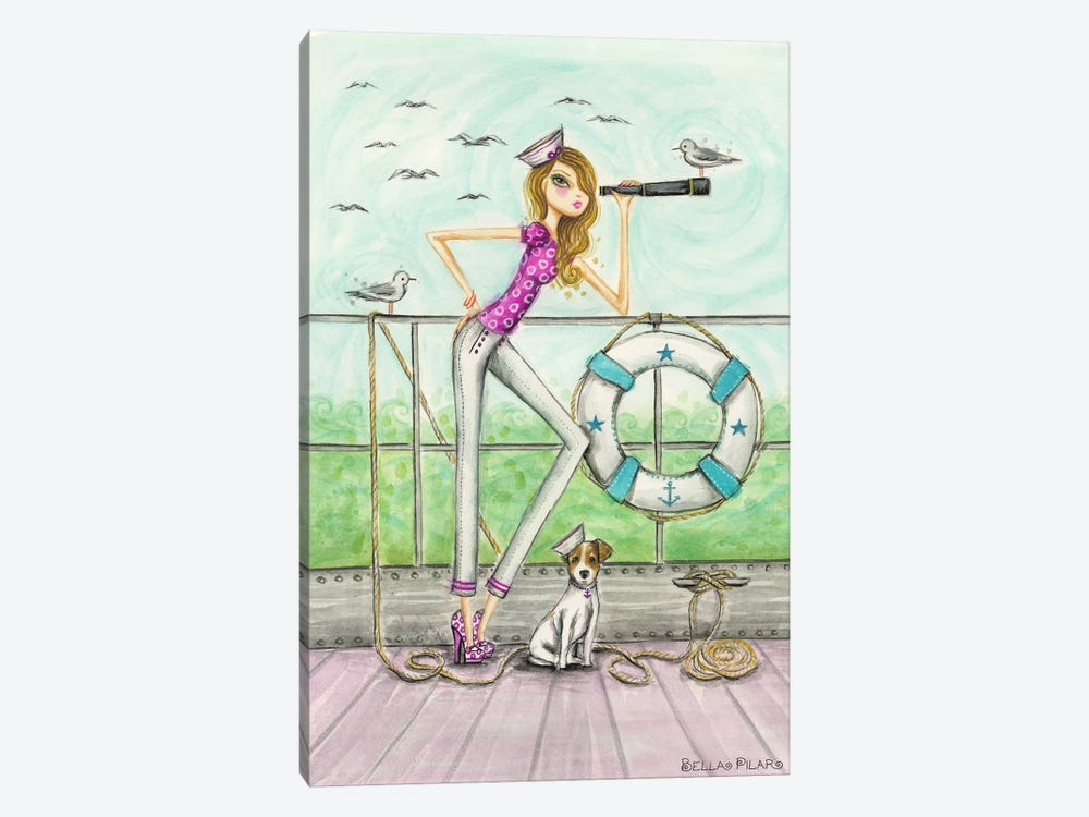 Ahoy Brenda Onboard by Bella Pilar 1-piece Canvas Wall Art