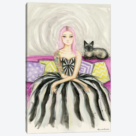Ivy On The Couch With Her Siamese Cat Canvas Print #BPR304} by Bella Pilar Canvas Artwork