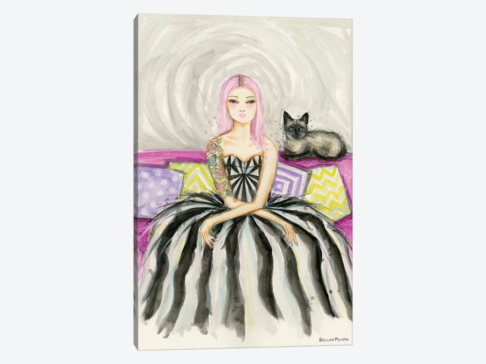 Ivy On The Couch With Her Siamese Cat by Bella Pilar 1-piece Canvas Print