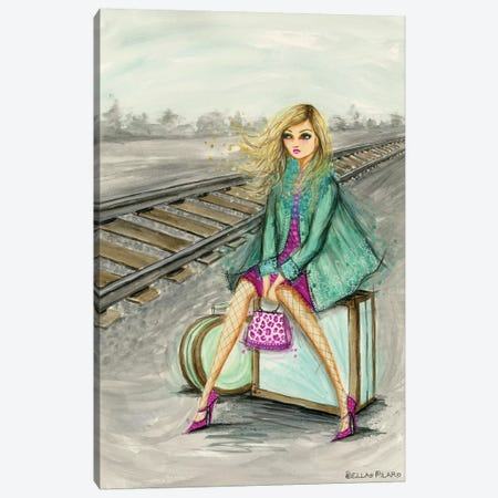 Lulu Waiting By The Train Tracks Canvas Print #BPR306} by Bella Pilar Canvas Wall Art