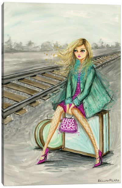 Lulu Waiting By The Train Tracks Canvas Art Print