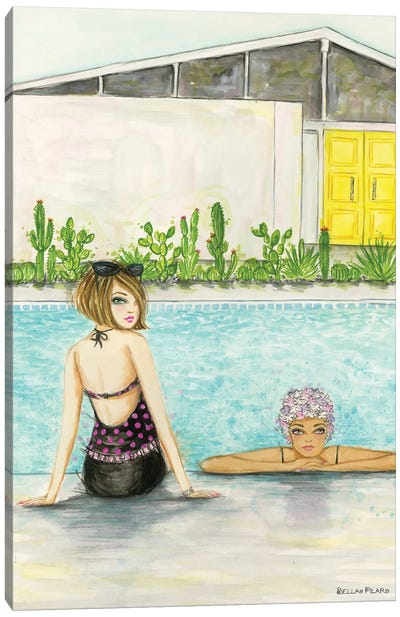 Palm Springs Pool Chill Canvas Art Print