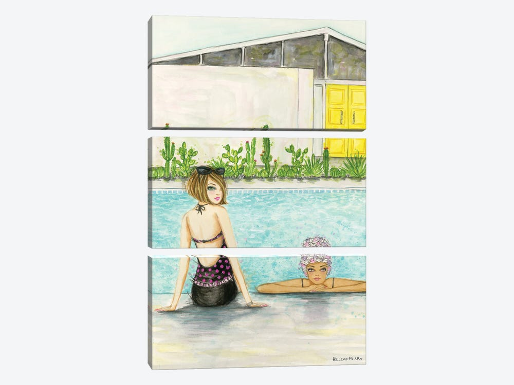 Palm Springs Pool Chill by Bella Pilar 3-piece Canvas Wall Art