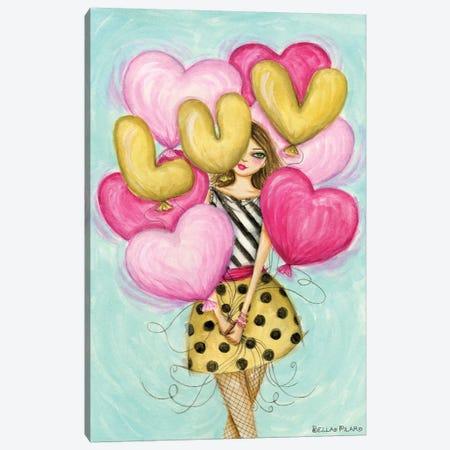 Celebrate Luv Balloons Canvas Print #BPR314} by Bella Pilar Canvas Art Print