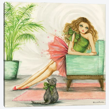 Claudia And Her Cat With The Big Green Bow Canvas Print #BPR316} by Bella Pilar Canvas Print