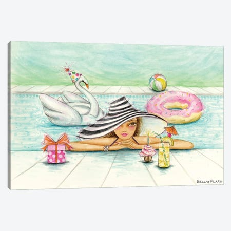 Delphine At The Pool Party Canvas Print #BPR323} by Bella Pilar Canvas Print