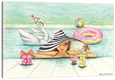 Delphine At The Pool Party Canvas Art Print