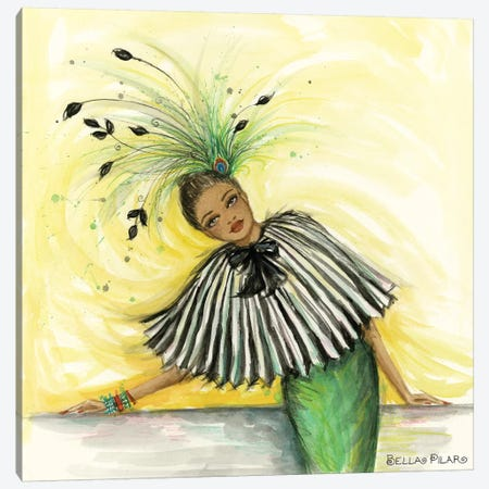 Feathered Fashion Celine In Pleats And Feathers Canvas Print #BPR325} by Bella Pilar Canvas Artwork