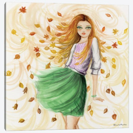 Felicia Fall Leaves Canvas Print #BPR326} by Bella Pilar Canvas Wall Art
