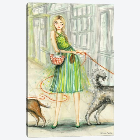 Marnie And Her 2 Dogs Canvas Print #BPR336} by Bella Pilar Art Print