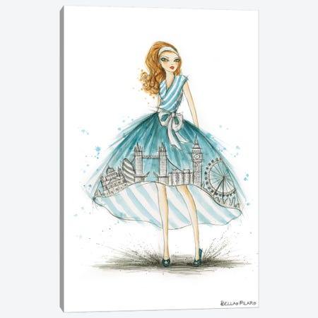 Night On The Town City Skirt Blue London Canvas Print #BPR338} by Bella Pilar Canvas Art