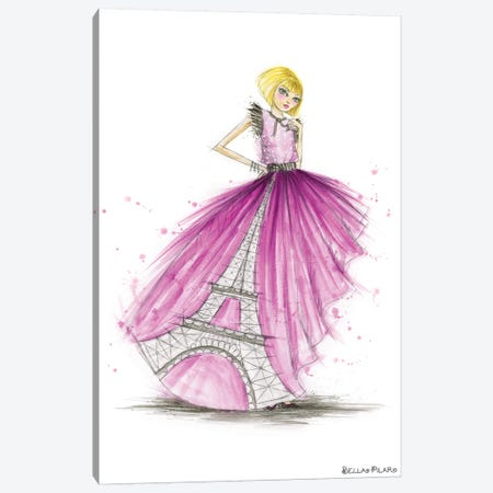 Night On The Town City Skirt Pink Paris Canvas Print #BPR340} by Bella Pilar Canvas Art Print