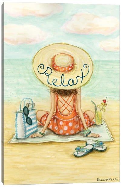 Relaxing On Beach Relax Hat Canvas Art Print