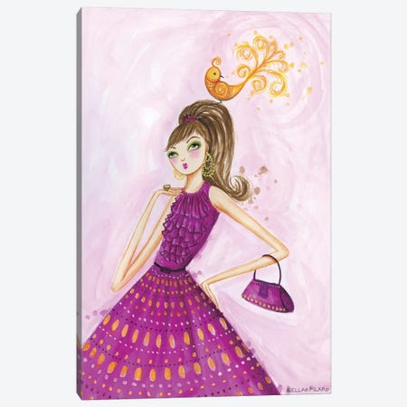 Birdies Girl Canvas Print #BPR34} by Bella Pilar Canvas Artwork