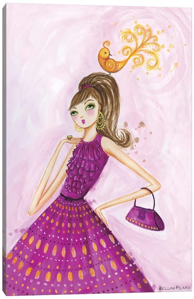 Birdies Girl Canvas Art Print