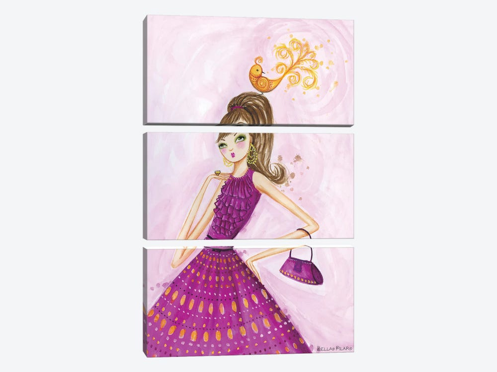 Birdies Girl by Bella Pilar 3-piece Art Print