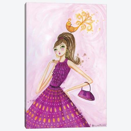 Birdies Girl Canvas Print #BPR34} by Bella Pilar Canvas Artwork
