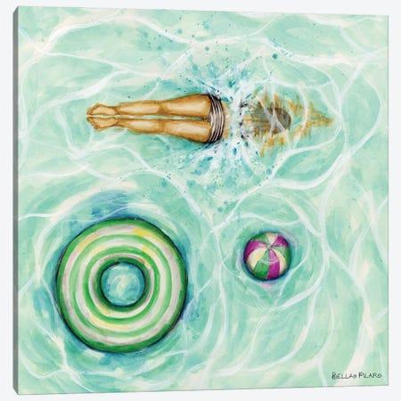 Pool Divin' Canvas Print #BPR357} by Bella Pilar Art Print