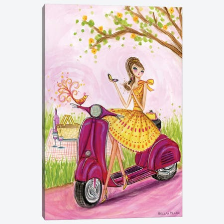 Birdies Vespa  Canvas Print #BPR35} by Bella Pilar Canvas Art