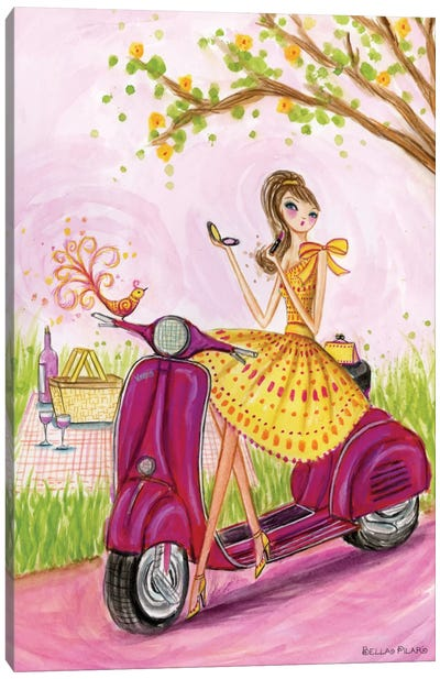 Birdies Vespa Canvas Art Print