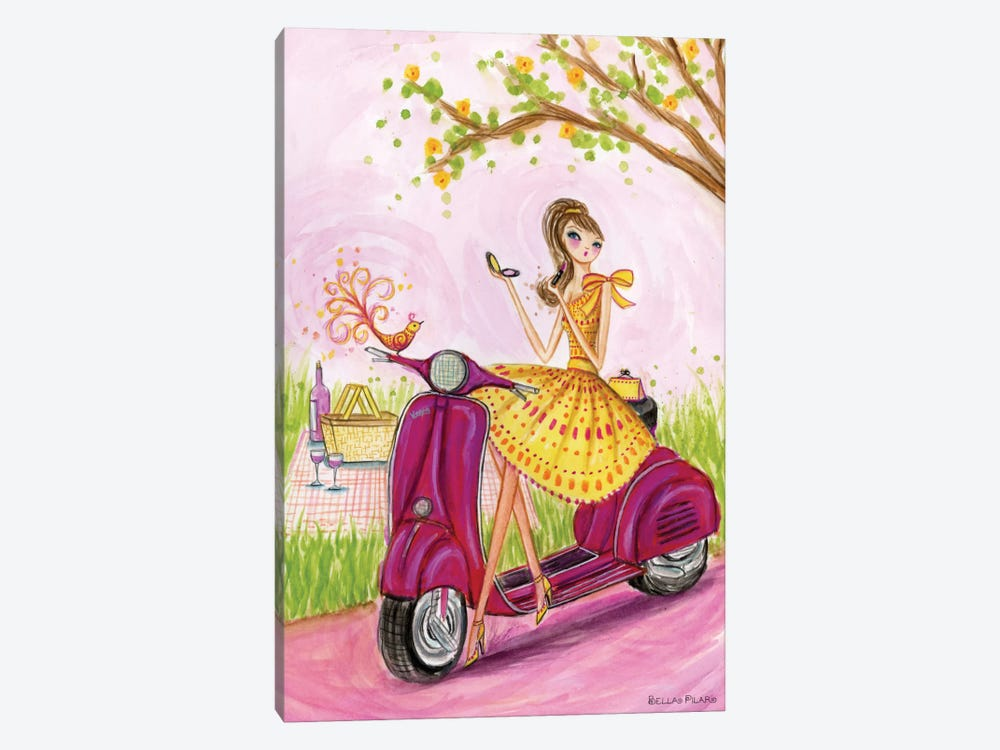 Birdies Vespa  by Bella Pilar 1-piece Canvas Wall Art