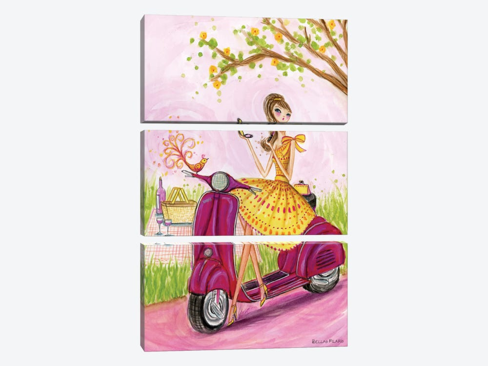 Birdies Vespa by Bella Pilar 3-piece Canvas Art