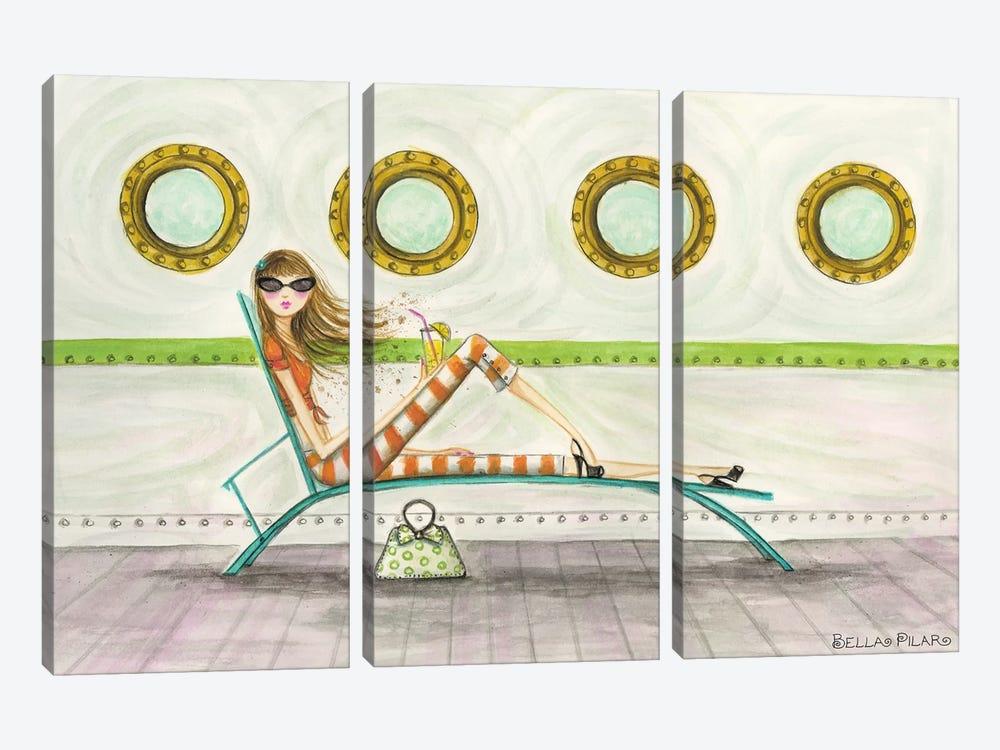 Ahoy Delia On Deck by Bella Pilar 3-piece Canvas Art Print