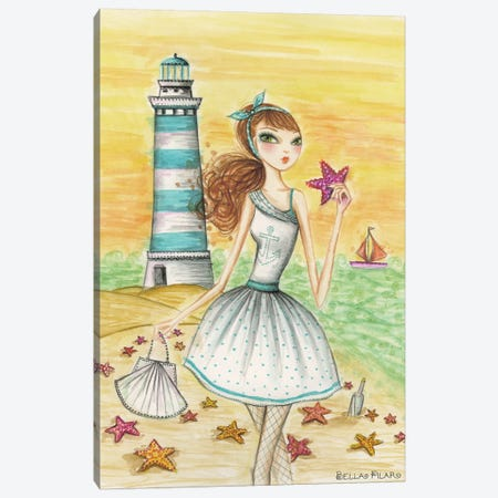 Ahoy Lola by the Lighthouse Canvas Print #BPR4} by Bella Pilar Canvas Artwork