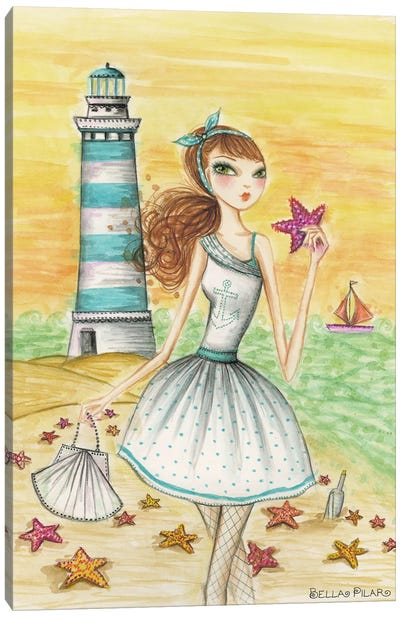 Ahoy Lola by the Lighthouse Canvas Art Print