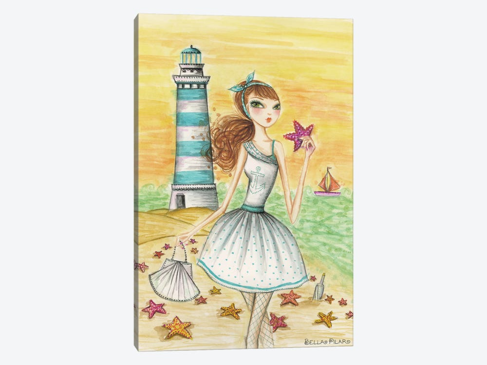 Ahoy Lola by the Lighthouse by Bella Pilar 1-piece Canvas Art