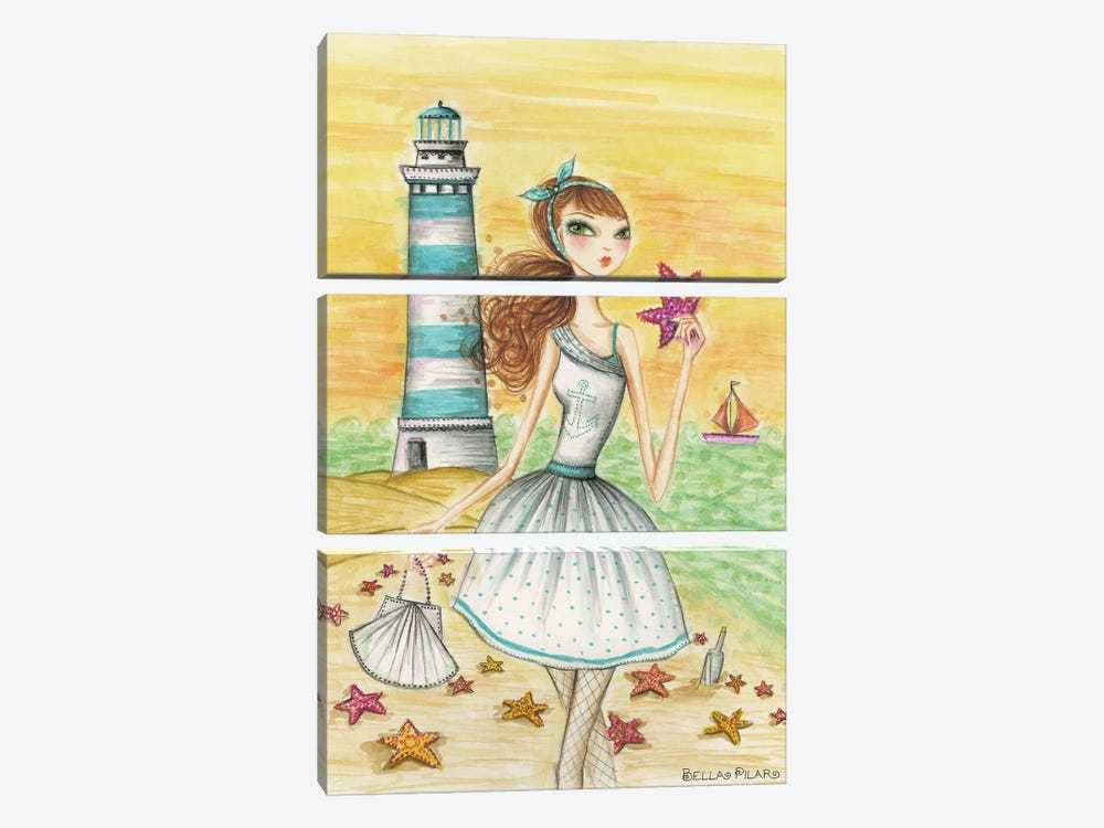 Ahoy Lola by the Lighthouse by Bella Pilar 3-piece Canvas Art
