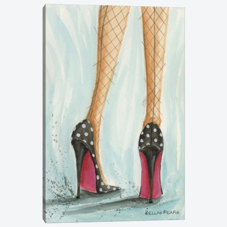 Polka Dot Heels Canvas Print #BPR57} by Bella Pilar Canvas Wall Art