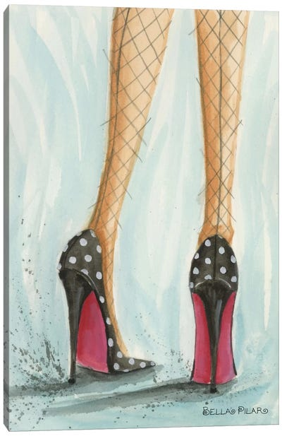 Date Night: Polka Dot Heels Canvas Art Print