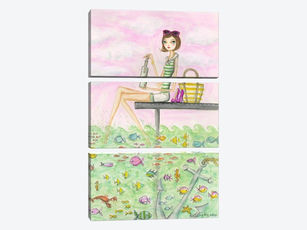 Ahoy Madeline's Message by Bella Pilar 3-piece Canvas Art Print
