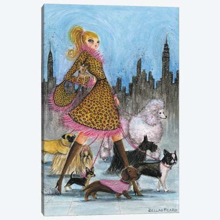 Dogwalker Canvas Print #BPR61} by Bella Pilar Canvas Artwork