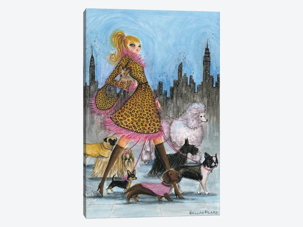 Dogwalker by Bella Pilar 1-piece Canvas Print