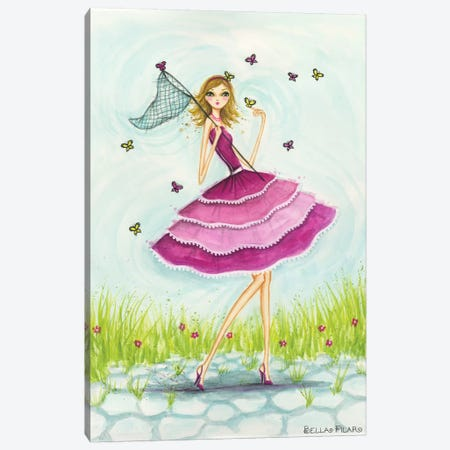 Garden Girls: Butterfly Catch Canvas Print #BPR70} by Bella Pilar Canvas Art Print